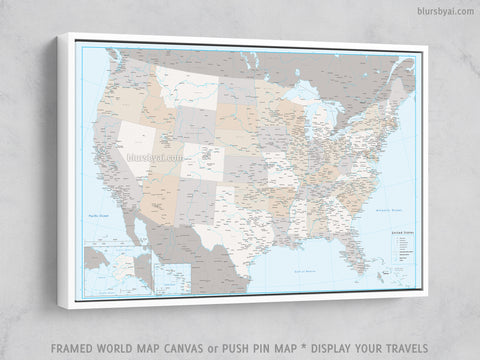 "Personalized USA map with cities, canvas print or push pin map in light and muted colors. ""Keane"""
