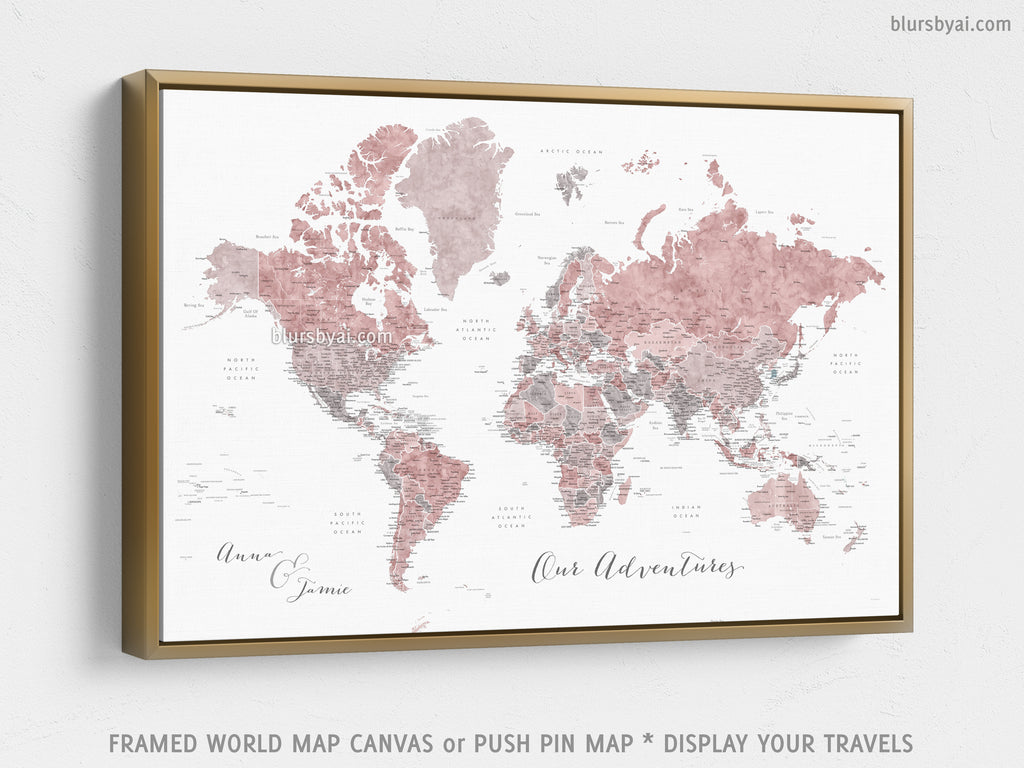 "Custom world map with US state capitals, cities, states and countries, canvas print or push pin map in dusty pink and grey watercolor. ""Piper"""