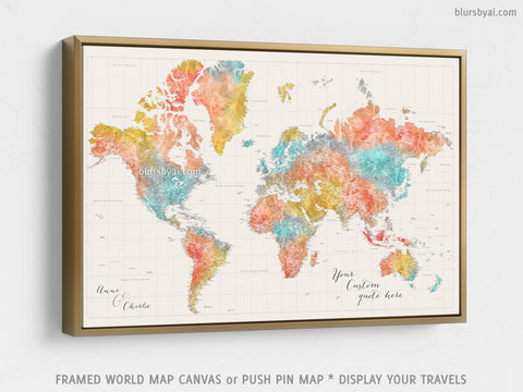 "Personalized large & highly detailed world map canvas print or push pin map in modern watercolors. ""Fifi"""