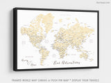 "Custom world map with cities, canvas print or push pin map in elegant floral pattern. ""Remy"""