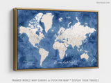 "Custom large & highly detailed world map canvas print or push pin map. ""Hudson"""