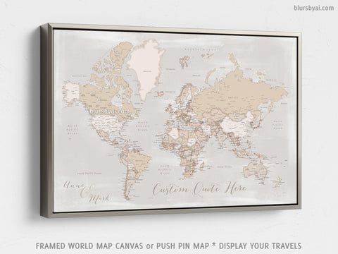 "Personalized world map with cities, canvas print or push pin map in rustic style. ""Lucille"""