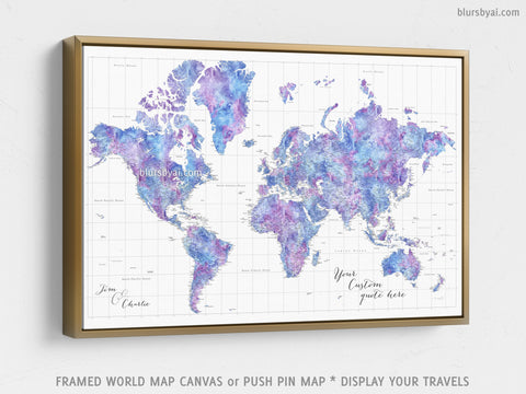 "Personalized large & highly detailed world map canvas print or push pin map in light blue and purple watercolor. ""Raul"""
