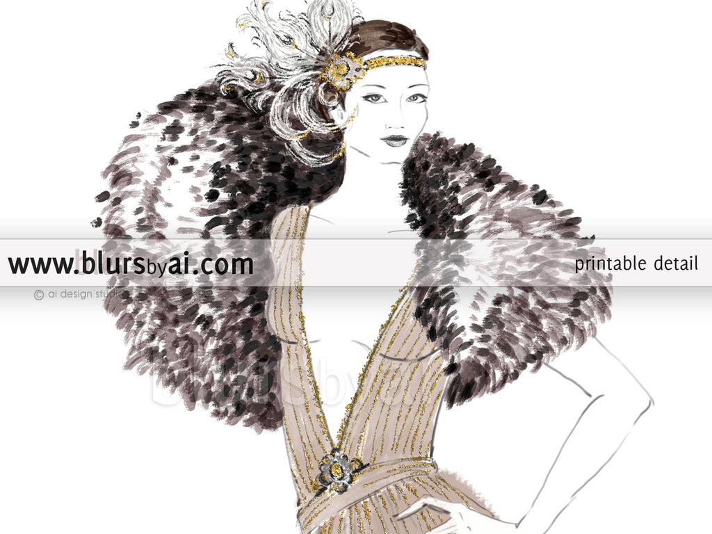 Printable fashion illustration of a 1920's gown in neutrals and gold