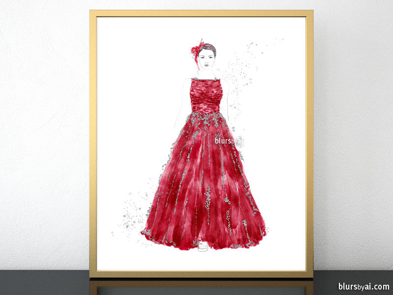 Printable fashion illustration of a silver glitter and red gown