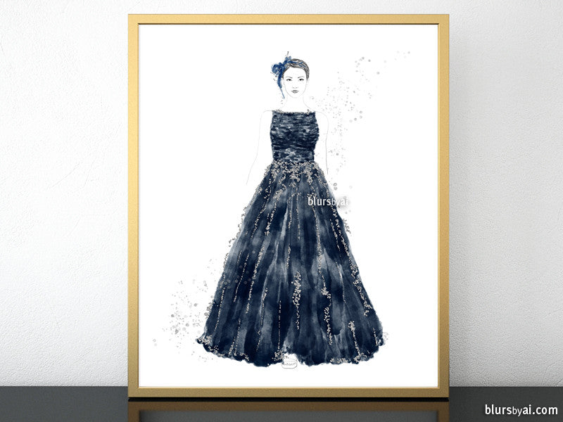 Printable fashion illustration of a silver glitter and dark blue gown