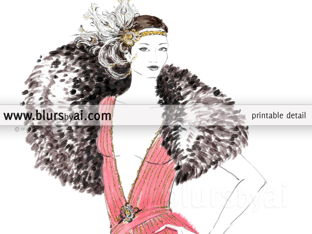 Printable fashion illustration of a 1920's gown in pink and gold