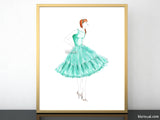 Printable fashion illustration of a 1950 inspired dress in mint green