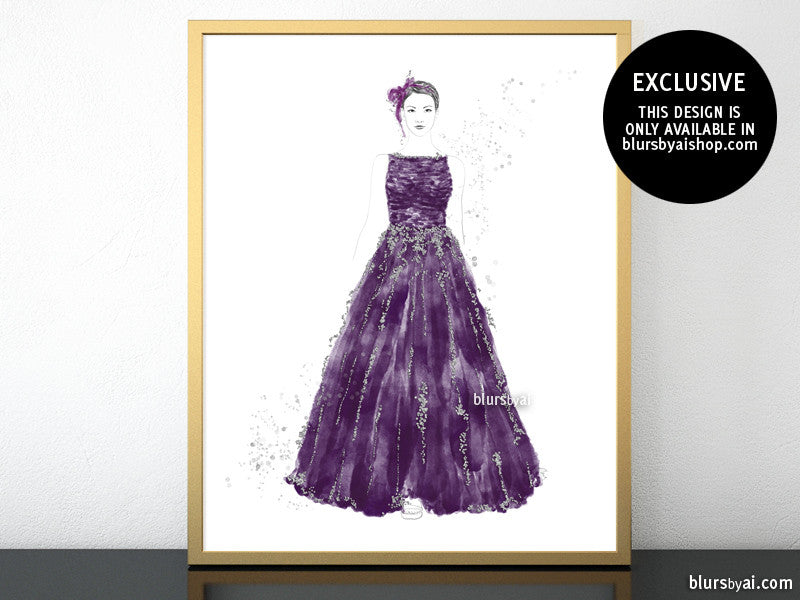 Printable fashion illustration of a silver glitter and purple gown