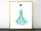 Printable fashion illustration of a seafoam green mermaid dress