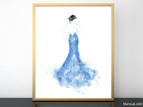 Printable fashion illustration of a light blue mermaid dress