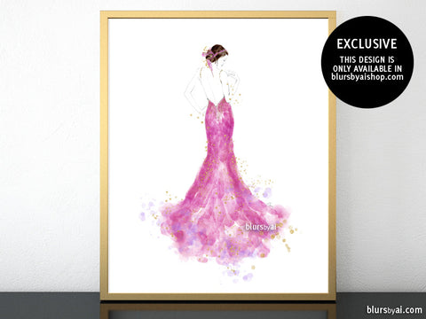 Printable fashion illustration of a pink mermaid dress