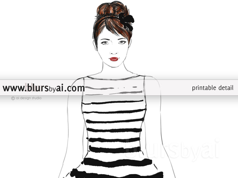 Printable fashion illustration of a black and white stripped summer dress