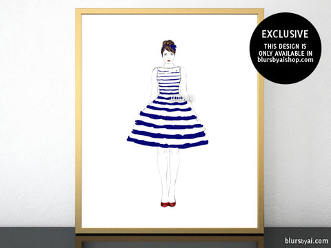 Printable fashion illustration of a navy blue and white stripped summer dress