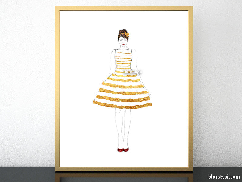 Printable fashion illustration of a gold stripped summer dress