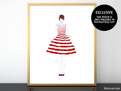 Printable fashion illustration of a red and white stripped summer dress