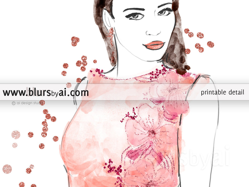 Printable fashion illustration of a coral night dress, embroidered with flowers and sequins