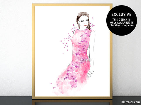 Printable fashion illustration of a pink night dress, embroidered with flowers and sequins
