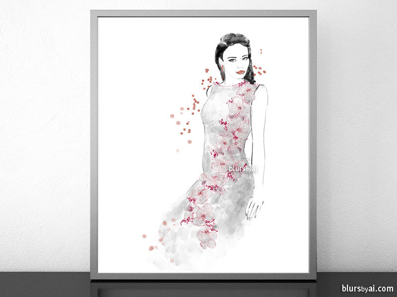 Printable fashion illustration of a grey and pink night dress, with flowers and sequins