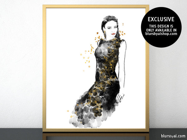 photograph relating to Printable Fashion called Printable type case in point of a black and gold night time costume, with bouquets and sequins