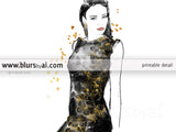 Printable fashion illustration of a black and gold night dress, with flowers and sequins