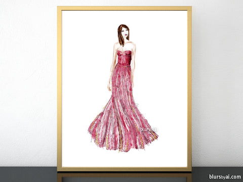 Printable fashion illustration: sequin gown in raspberry pink and gold