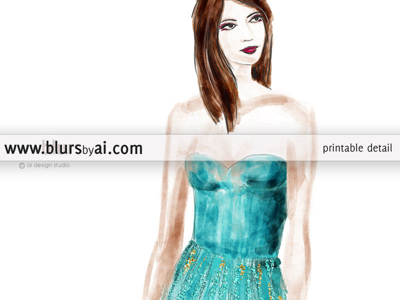 Printable fashion illustration: sequin gown in aquamarine and gold