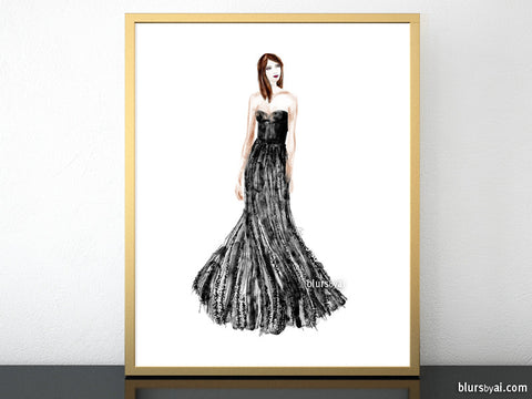 Printable fashion illustration: sequin gown in black and silver