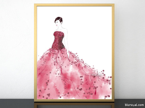 Printable fashion illustration of a raspberry red gown with glitter bodice
