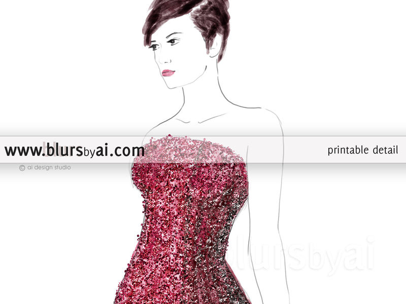 Printable fashion illustration of a grey and pink gown with glitter bodice