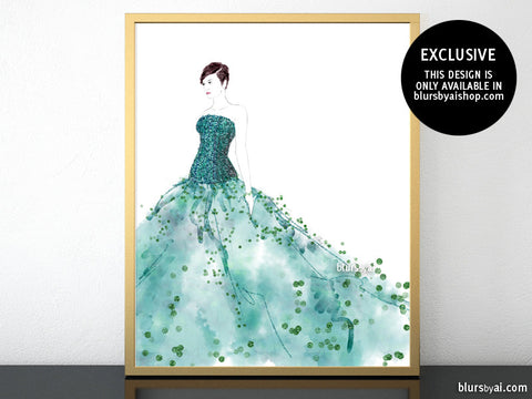 Printable fashion illustration of a teal gown with sequin bodice