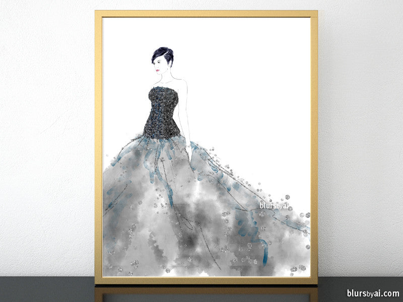 Printable fashion illustration of a black gown with sequin bodice