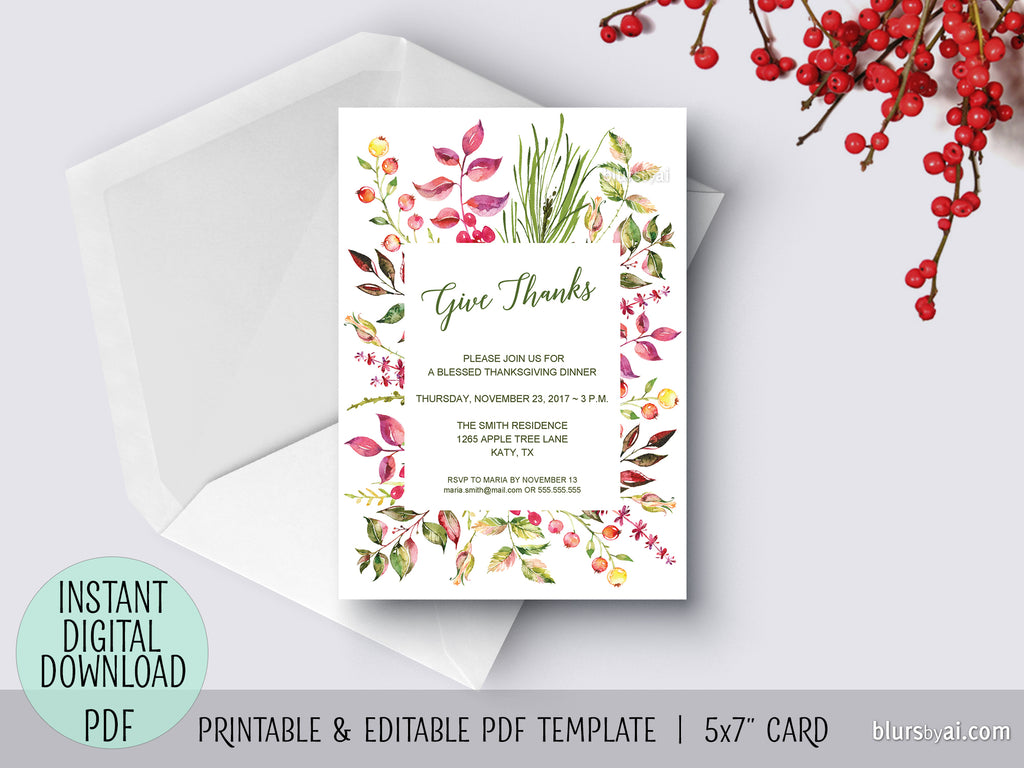 Editable Pdf Thanksgiving Invitation Template Floral Give Thanks