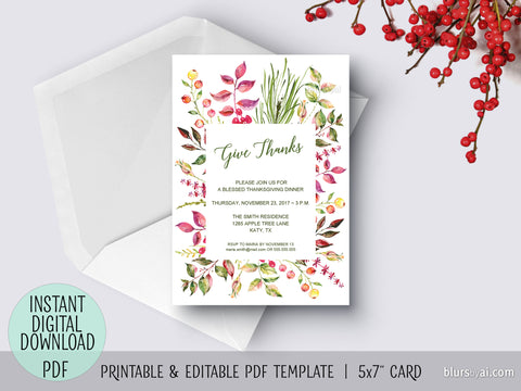 Editable pdf Thanksgiving invitation template: Floral Give Thanks