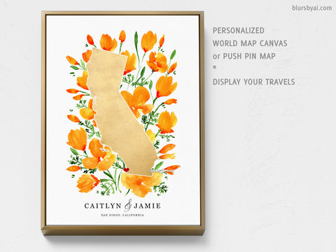 Personalized map of California with California poppies, canvas print or push pin map
