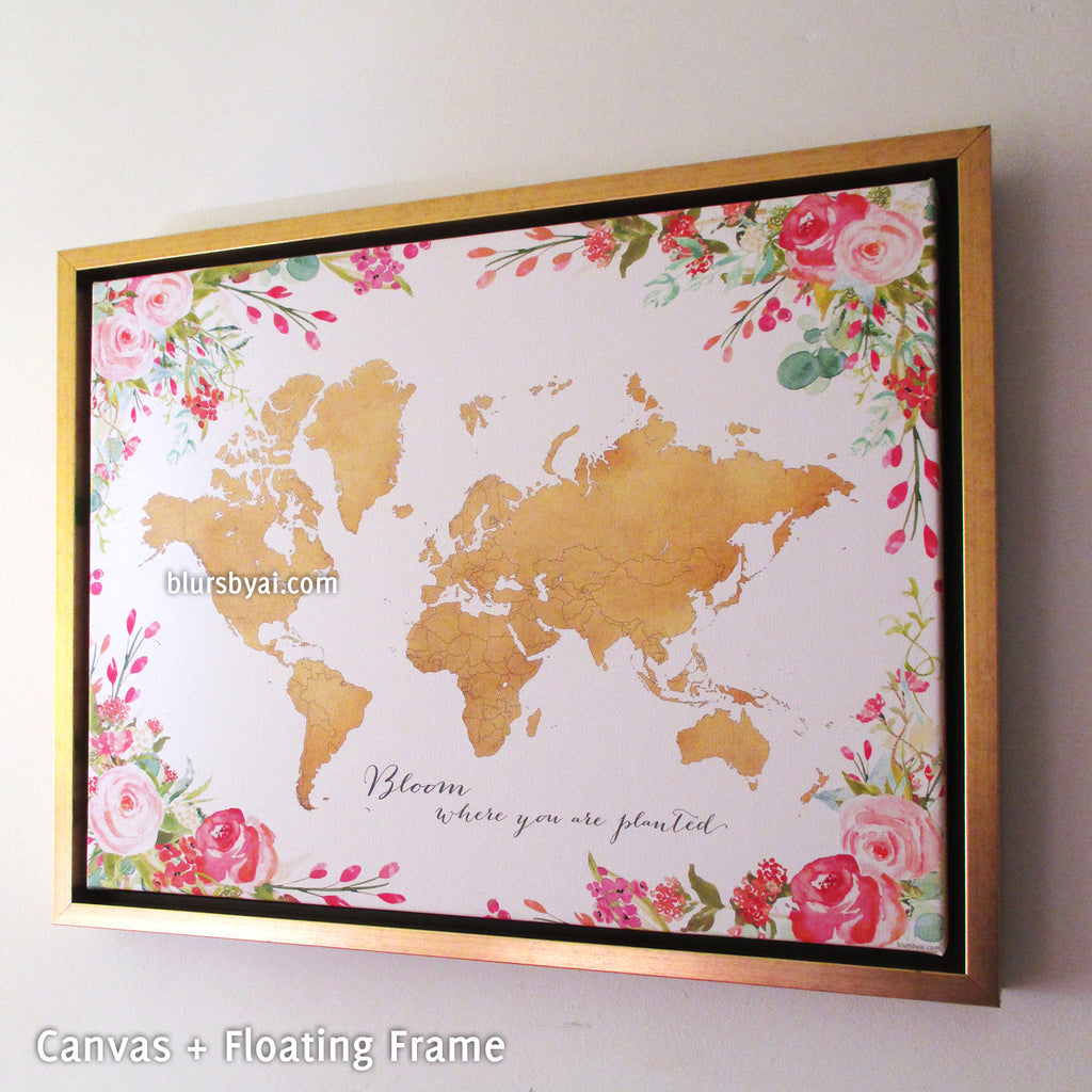Framed gold world map with watercolor florals canvas print or push framed gold world map with watercolor florals canvas print or push pin map bloom where gumiabroncs Choice Image