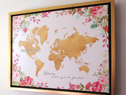 Framed gold world map with watercolor florals canvas print or push pin map, Bloom where you are planted