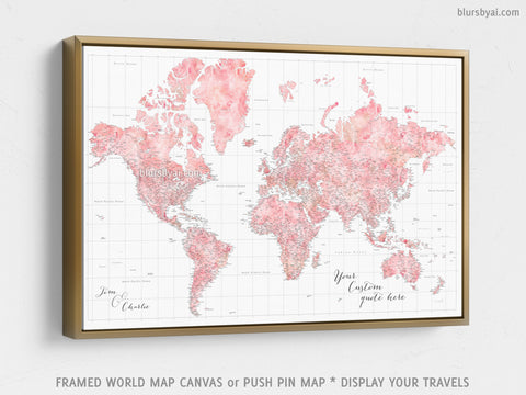 "Personalized large & highly detailed world map canvas print or push pin map in blush watercolor. ""Alheli"""