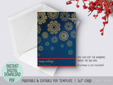 Editable pdf Christmas card template: gold lace snowflakes in the night sky
