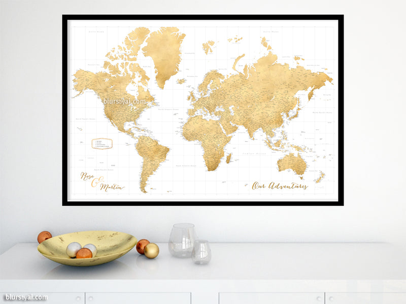 "Custom world map print - highly detailed map with cities in faux gold foil effect. ""Rossie"""