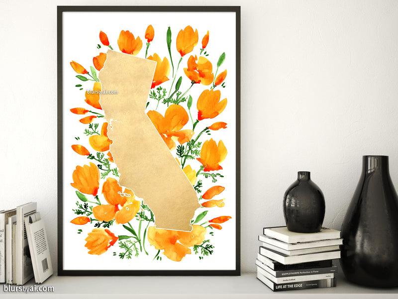 Printable map of California with watercolor California poppies