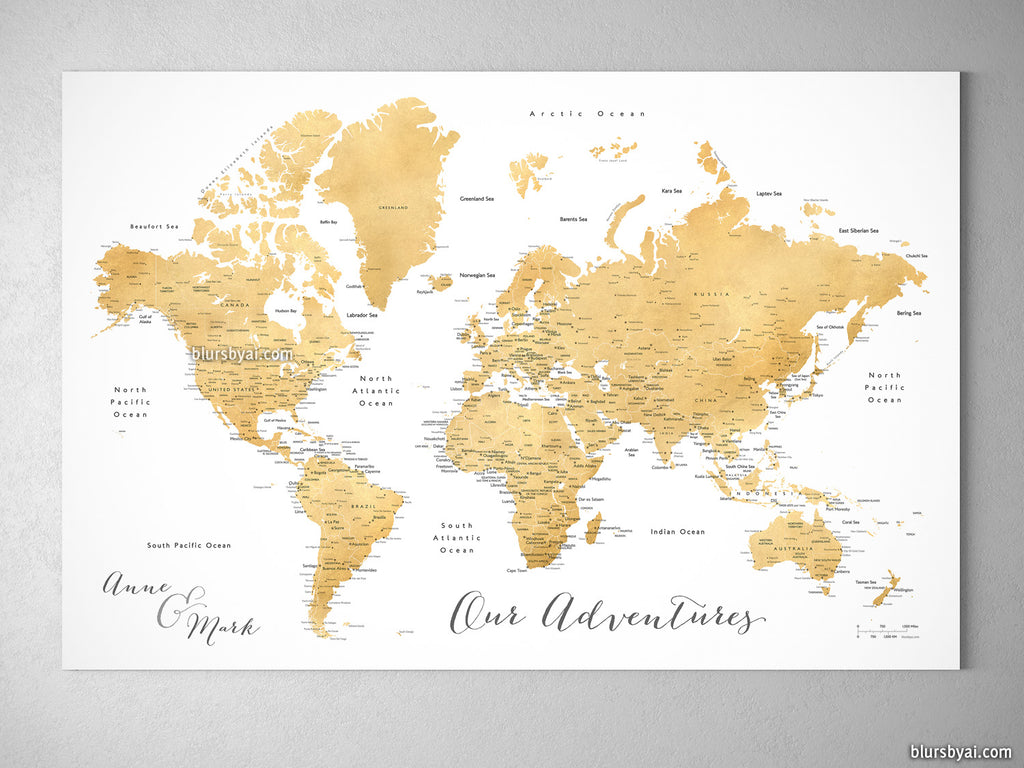 "Custom world map with cities, canvas print or push pin map in faux gold foil effect. ""Rossie"""