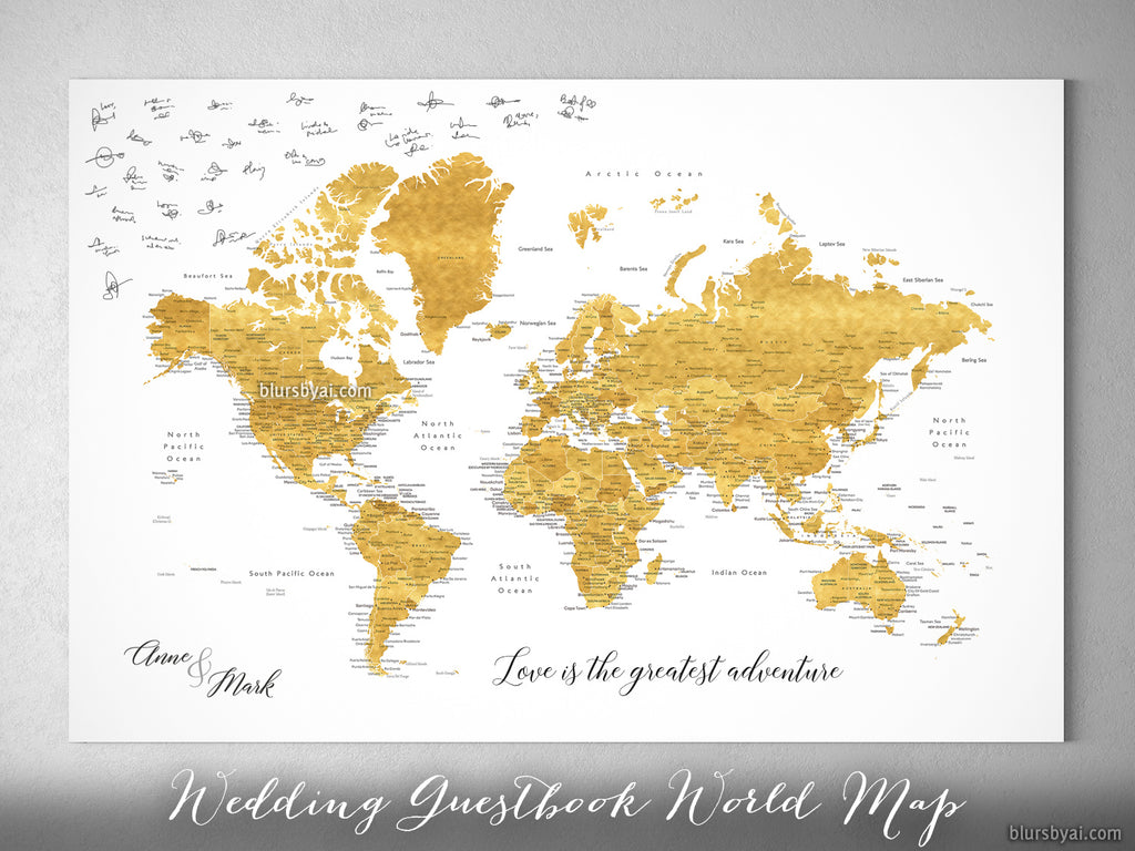 "Wedding guestbook map: custom world map with cities, canvas print or push pin map in shades of gold. ""Rossie"""