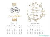 "2019 printable calendar ""Golden Year"" in letter size"