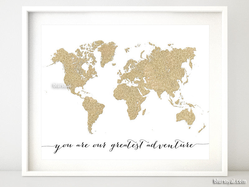 Gold glitter world map printable art you are our greatest gold glitter world map printable art you are our greatest adventure 20x16 sciox Image collections
