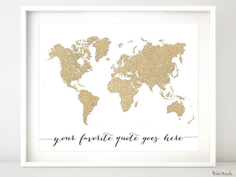 "Custom quote - Gold glitter world map available in sizes from 7x5"" to 60x40"""