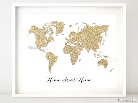 Gold glitter world map featuring the quote home sweet home, 20x16""
