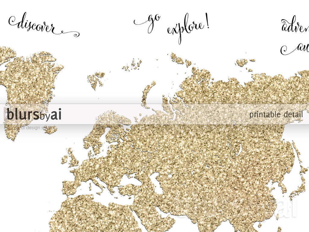 Gold Glitter World Map With Inspirational Quotes, 10x8