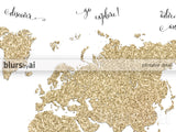 Gold glitter world map with inspirational quotes, 10x8""