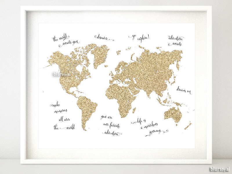 "Gold glitter world map with inspirational quotes, 10x8"" - For personal use only"